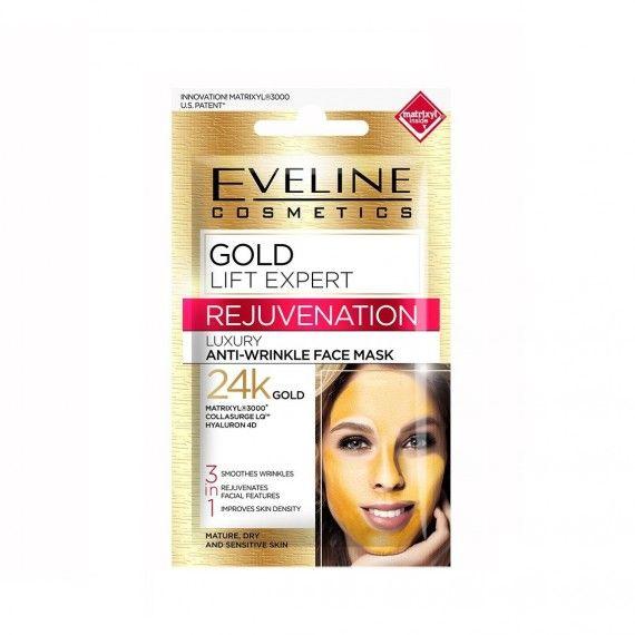 Eveline Cosmetics Gold Lift Expert Máscara Facial Anti-Rugas 24k Gold 3 em 1